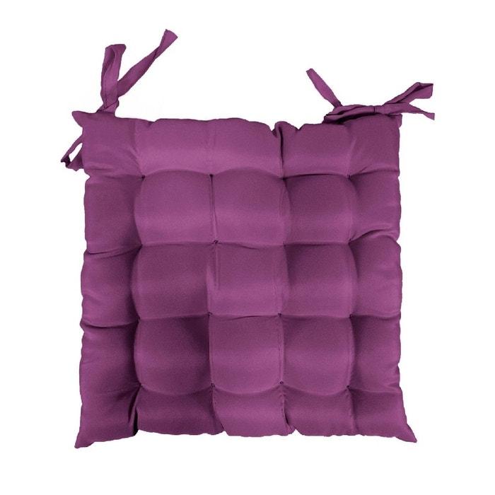 coussin galette de chaise 40 x 40 cm prune couleur unique douceur d 39 int rieur la redoute. Black Bedroom Furniture Sets. Home Design Ideas