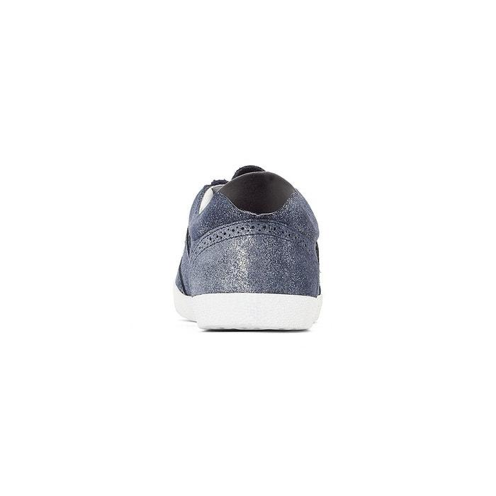 Baskets cuir bleu/argent La Redoute Collections