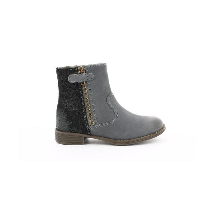 998233bbc5d30 Boots cuir enfant rox gris Aster