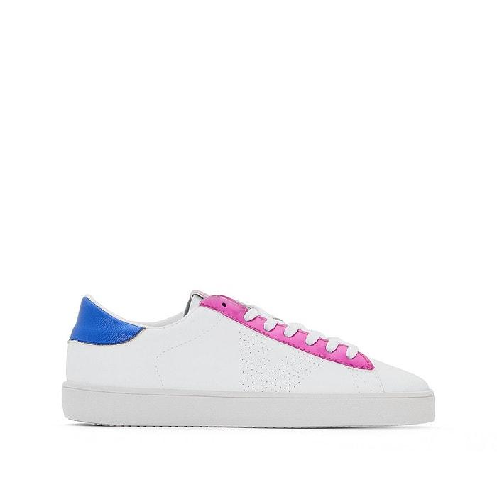 Baskets deportivo piel metalizado   blanc/rose fluo Victoria   La Redoute