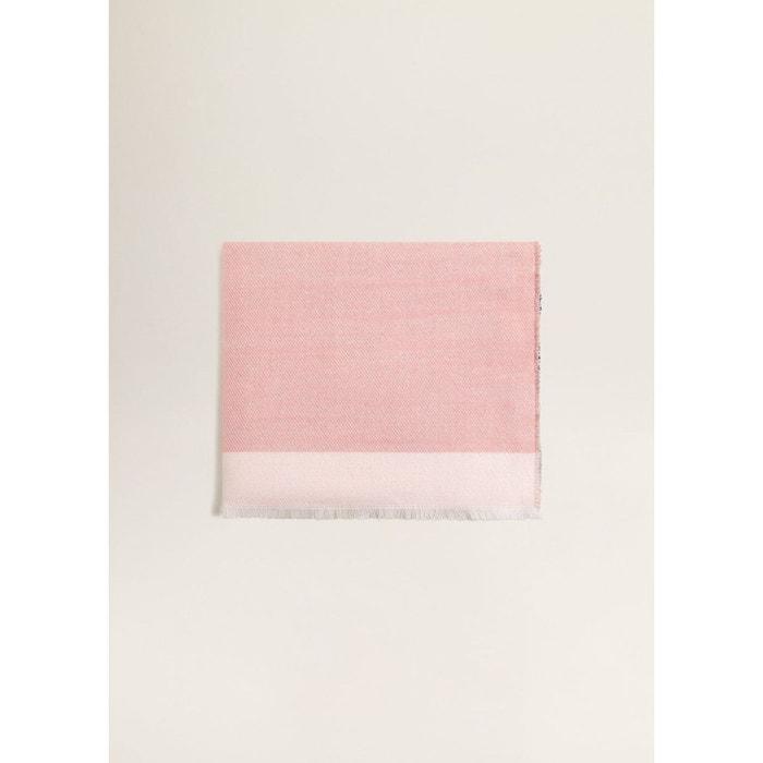 Écharpe tricolore à rayures rose pastel Mango   La Redoute 6c0c5de1cc8