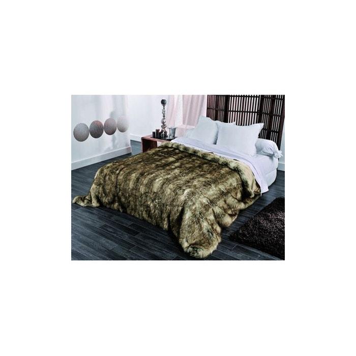 Jet de lit en fausse fourrure grizzly beige home maison la redoute - Jete de lit fausse fourrure ...
