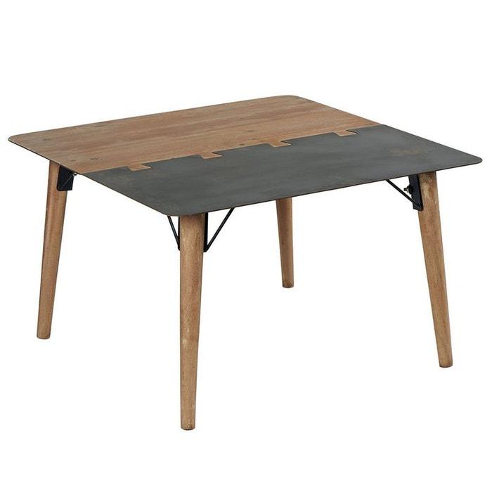 Table Basse Carrée En Métal Plaqué Sapin Massif Et Métal Et Pieds