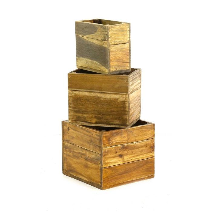 Lot de 3 caisses bois recyclé noldor inwood image 0