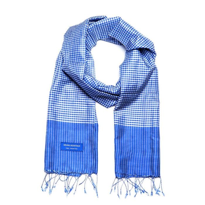 Foulard krama en soie bleu lazuli bleu lagon Krama Heritage | La Redoute Pour Pas Cher Pas Cher ycz897dOr
