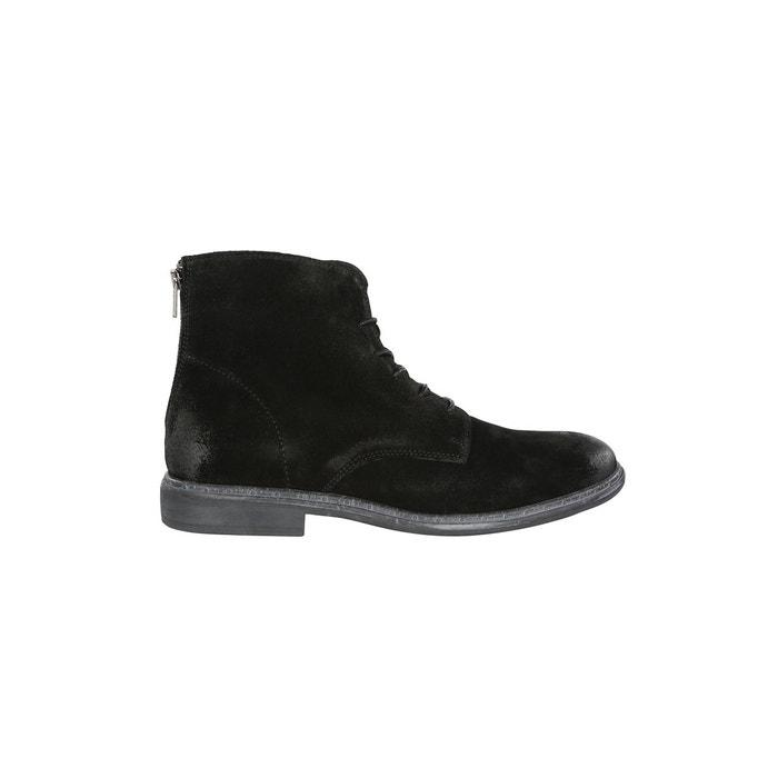 Boots nubuck zip arriere noir gris Carnet De Vol