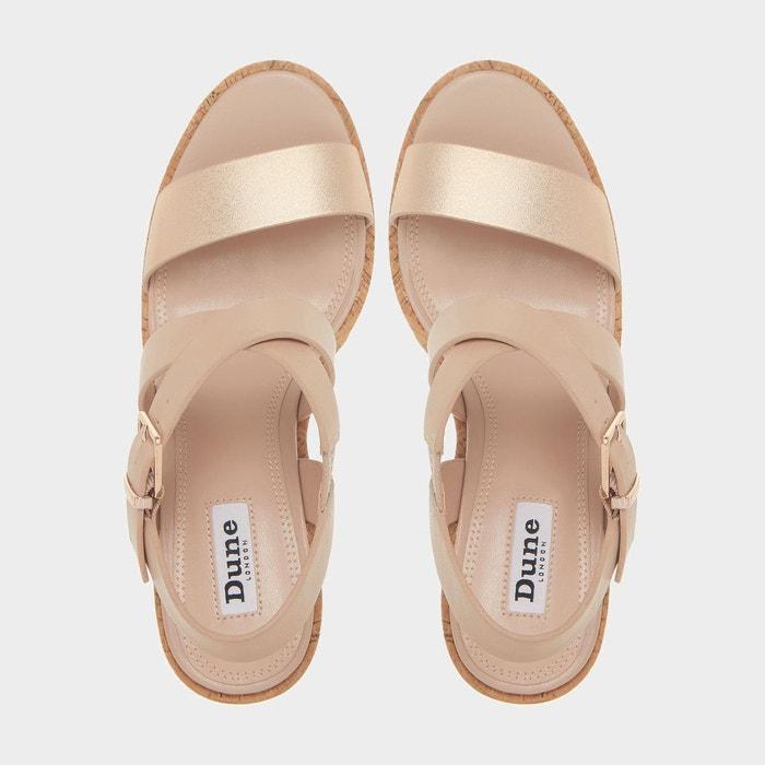Sandales à talon compensé haut en liège et brides croisées - kyte Dune London