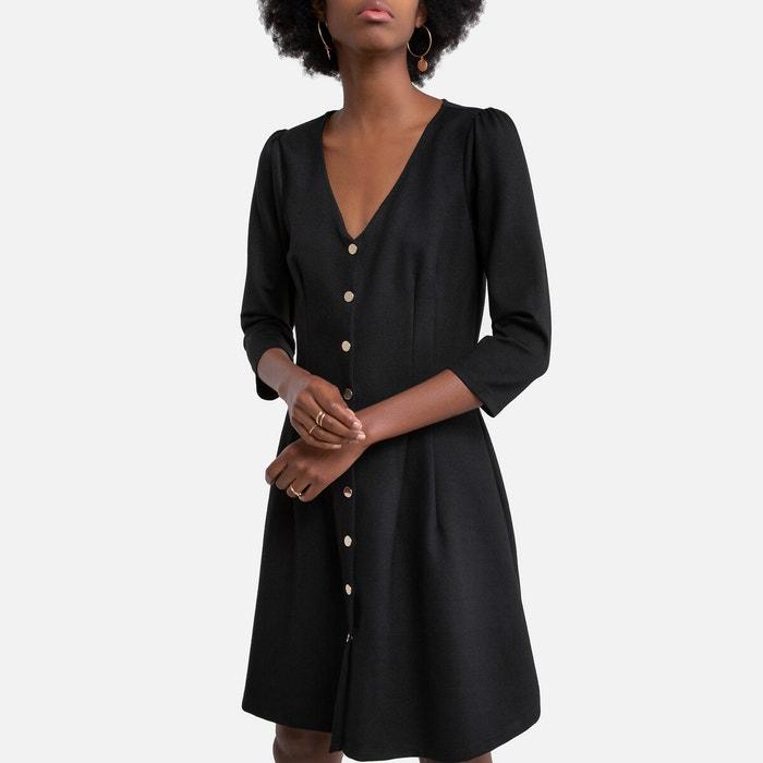 Kleid Mit Knopfen V Ausschnitt Und 3 4 Armeln Schwarz Naf Naf La Redoute