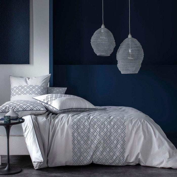 housse de couette percale 80 fils imprim graphique aux tons bleu nuit et gris sur un fond. Black Bedroom Furniture Sets. Home Design Ideas