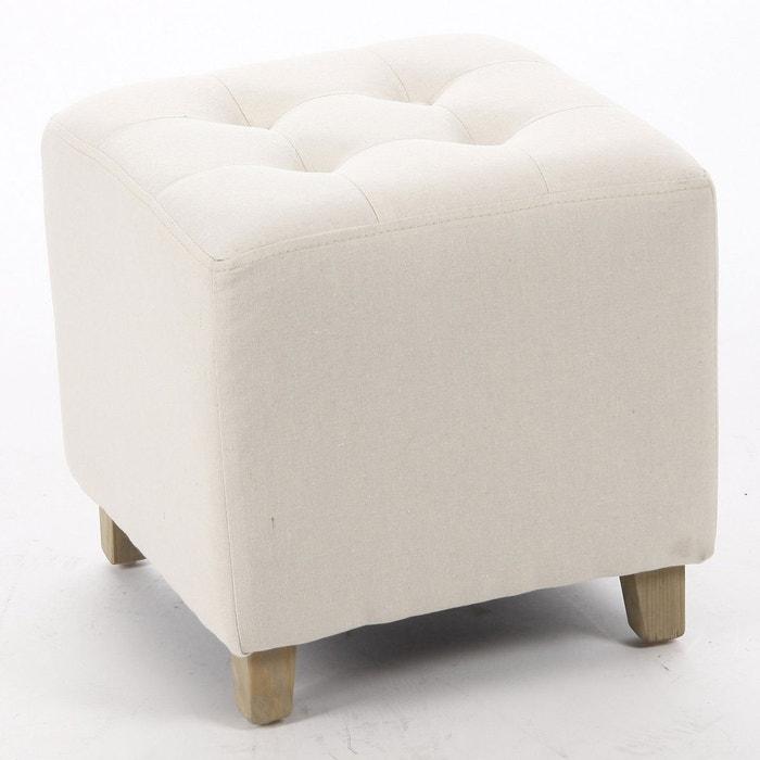 pouf leandre lin beige beige atmosphera la redoute. Black Bedroom Furniture Sets. Home Design Ideas