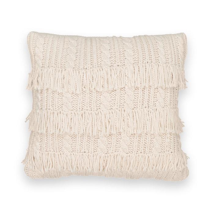 Housse de coussin en tricot franges lopik cru la - Housse de coussin en tricot ...