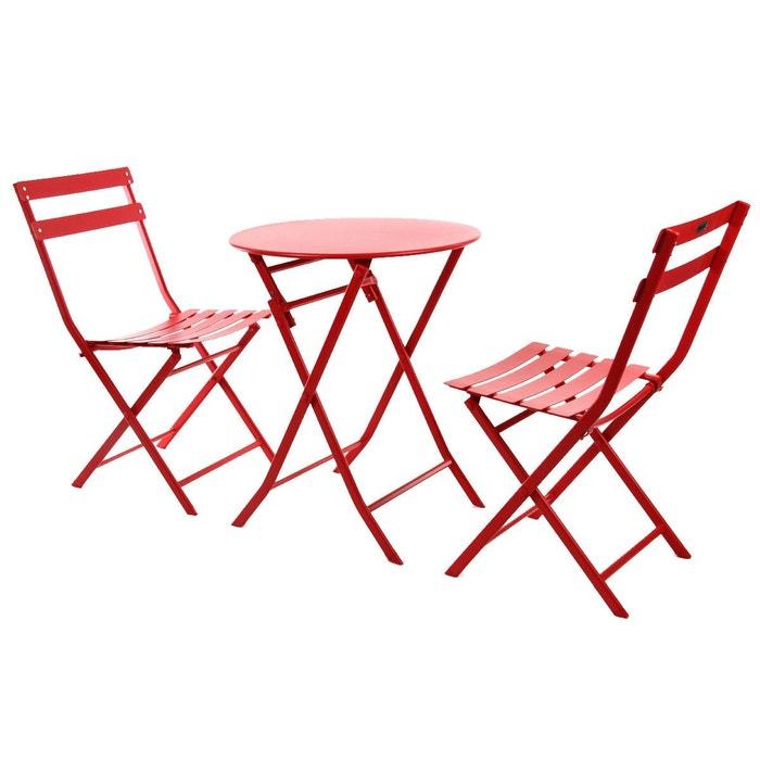 Salon de jardin rond 2 places greensboro groseille for La redoute salon jardin