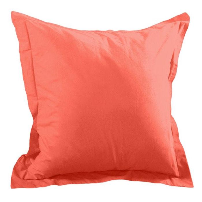 Une taie d 39 oreiller corail couleur unique storex la redoute - Une taie d oreiller ...