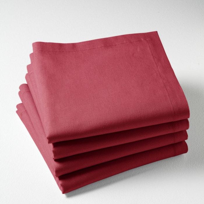 serviettes de table lin coton border lot de 4 grenat la redoute interieurs la redoute. Black Bedroom Furniture Sets. Home Design Ideas