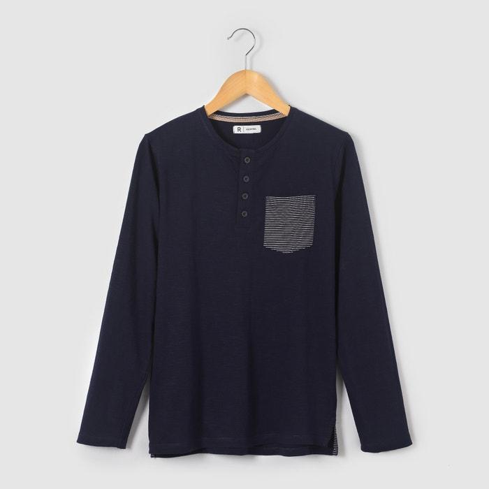 Image T-shirt manches longues poche rayée 10-16 ans R essentiel