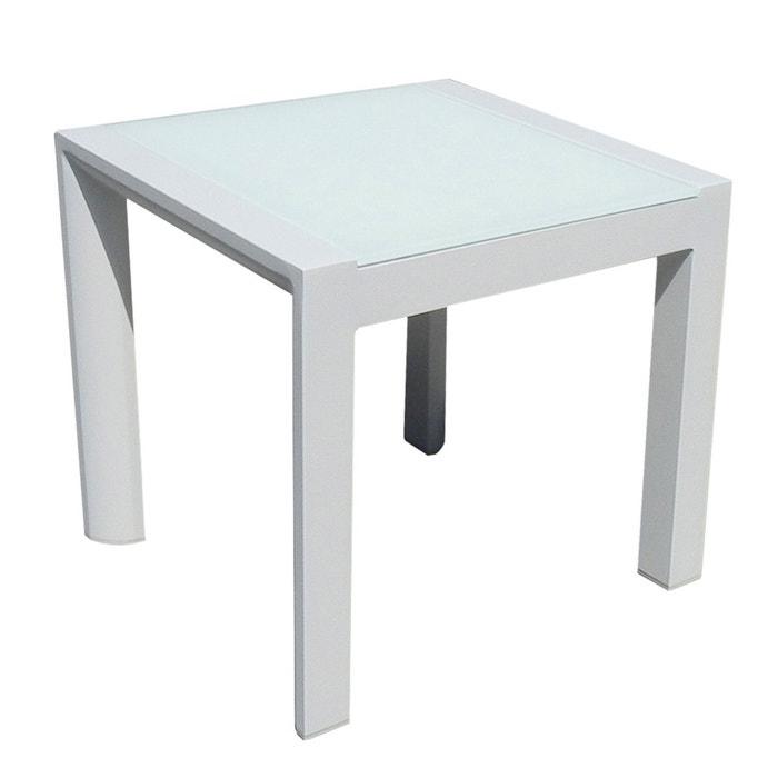 Table Basse Carrée Alu Blanc Plateau Verre Blanc Léda Blanc Idilik