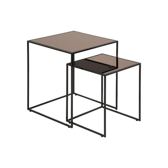 Tables Basses Gigognes Carrees Bronze Et Verre Fume Lot De 2 Pompei