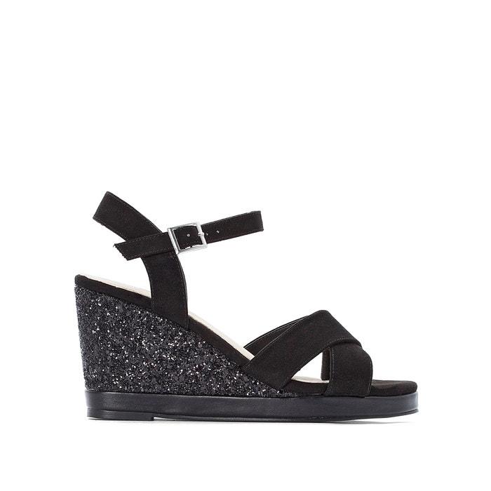 60ec23de055 Wide fit glitter wedge sandals