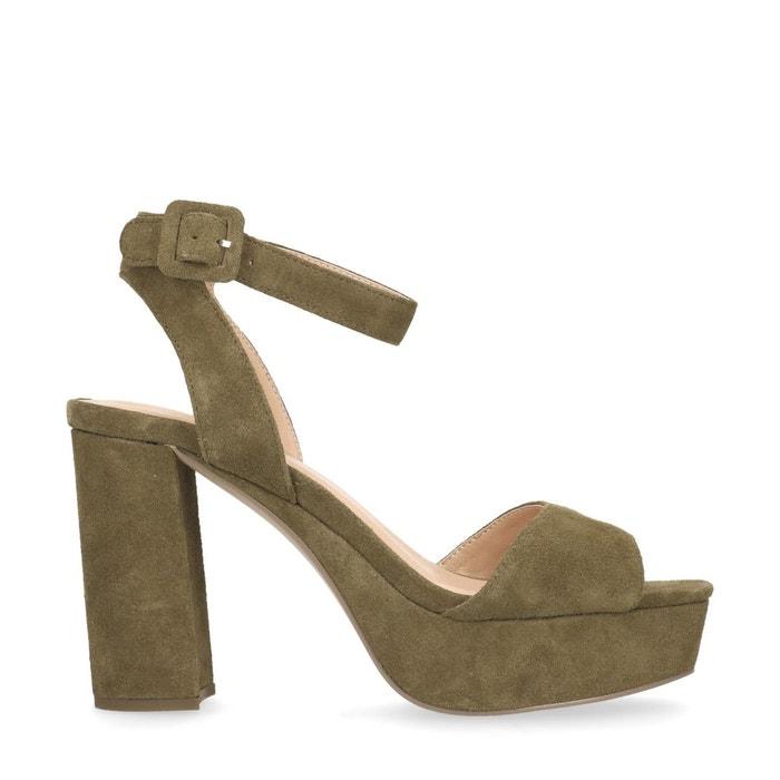Sandales à talon cubain vert Sacha