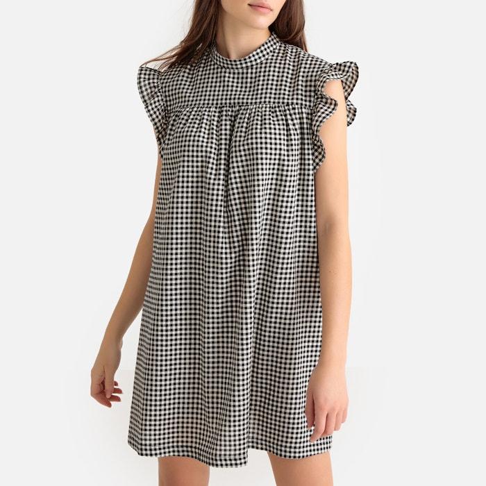 b7696b163bb Платье расклешенное с короткими рукавами и рисунком в клетку виши в клетку  черный La Redoute Collections