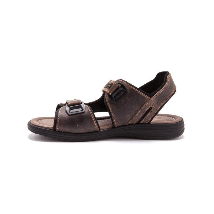 Sandales à ouverture totale marron foncé uni Pediconfort