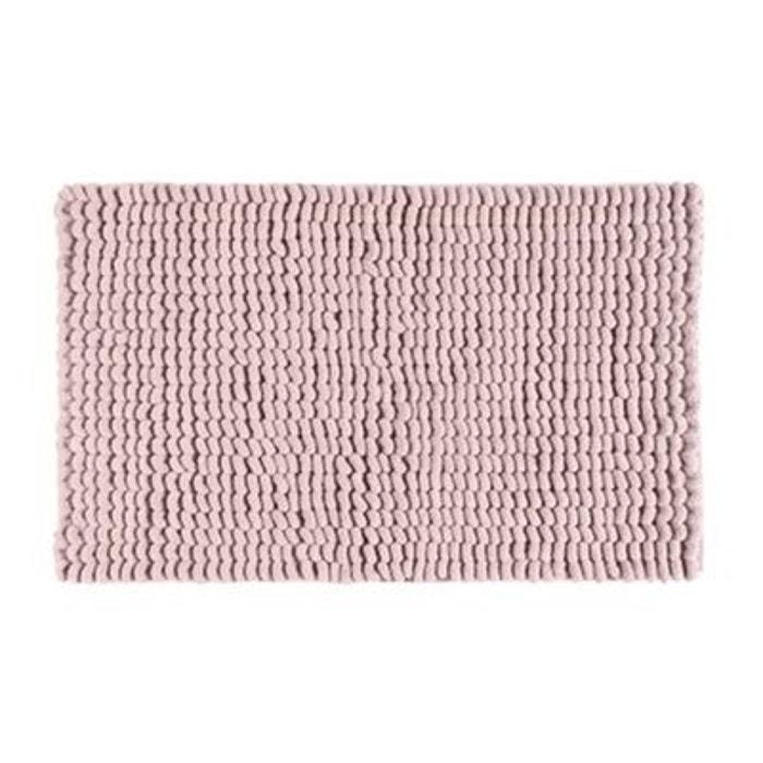 Grand tapis de bain doux rose boucles 60 100cm rose - La redoute tapis salle de bain ...