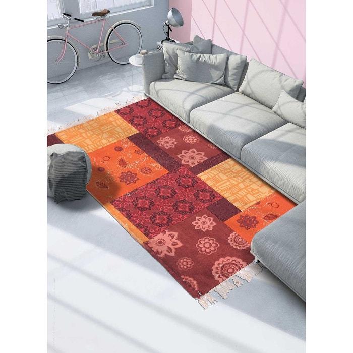 Tapis de salon moderne design tapis franges orange crush - coton ...