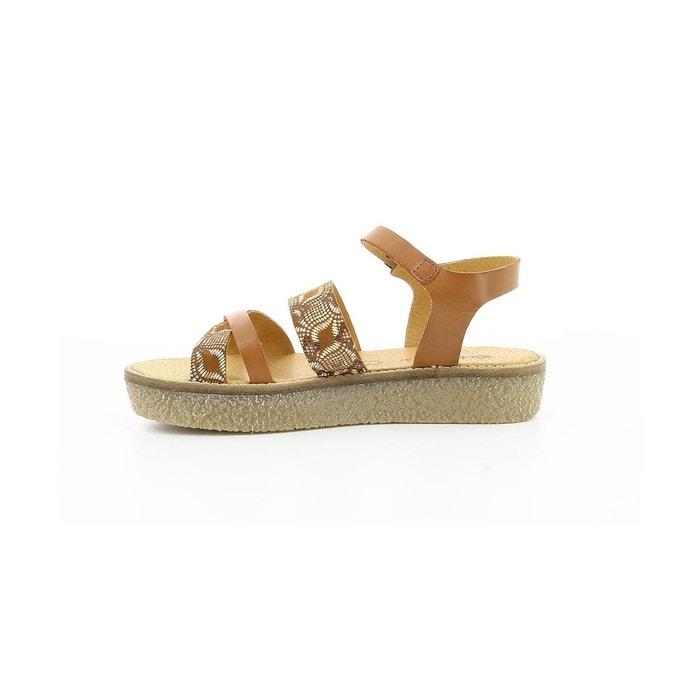 Sandales cuir femme vecteur camel Kickers