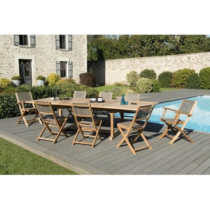 Salon de jardin teck table extensible 200 300 6 chaises - Salon jardin la redoute ...