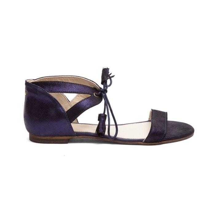Sandales en cuir juliette  bleu M. Moustache  La Redoute