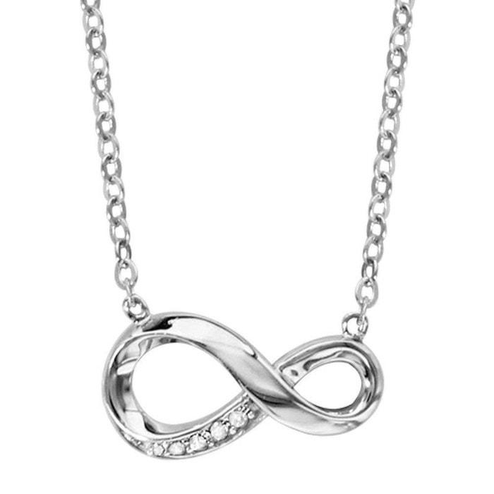 Collier femme longueur réglable: 42 à 45 cm symbole infini serti oxyde de zirconium blanc argent 925 couleur unique So Chic Bijoux   La Redoute