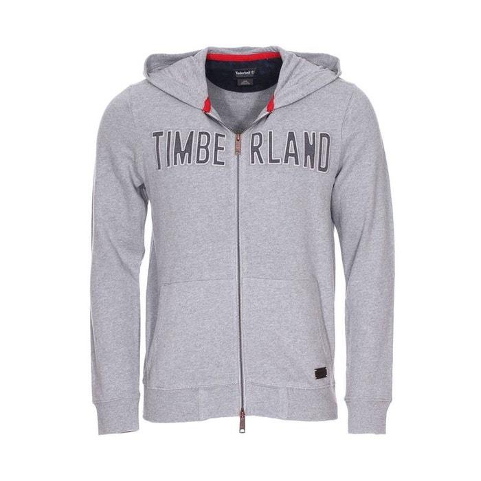 Sweat zippé à capuche en coton chiné coton gris Timberland