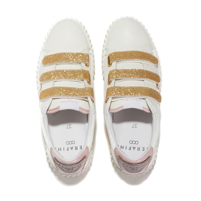 7d1e504e45f4 Baskets glitter pattes auto-agrippantes madisson Serafini blanc rose ...
