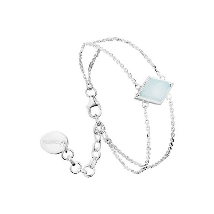 Bracelet chaîne losange en argent 925 passivé, calcédoine, 3.7g bleu Canyon | La Redoute