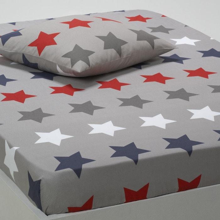 drap housse stars gris imprim la redoute interieurs la. Black Bedroom Furniture Sets. Home Design Ideas