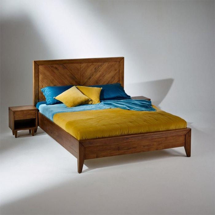 Lit double bradley en bois massif sommier 160 x 200 cm - Lit double bois massif ...