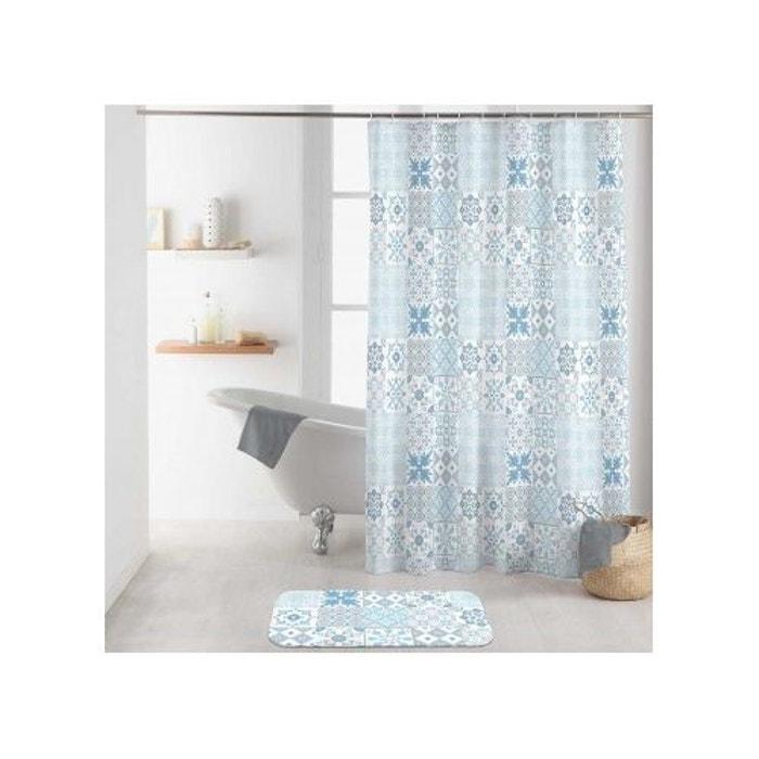 rideau de douche effet carreaux de ciment bleu home bain. Black Bedroom Furniture Sets. Home Design Ideas