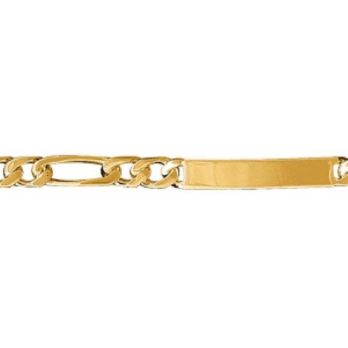 Bracelet 18,5 cm identité gourmette maille 1 + 3 largeur 6 mm plaqué or 750 couleur unique So Chic Bijoux | La Redoute