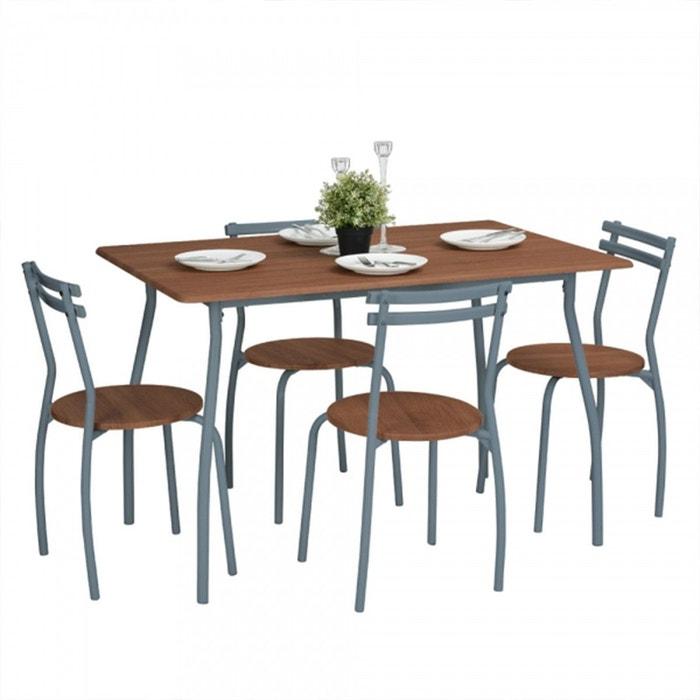 Ensemble Table Et 4 Chaises Design Industriel Marron Calicosy