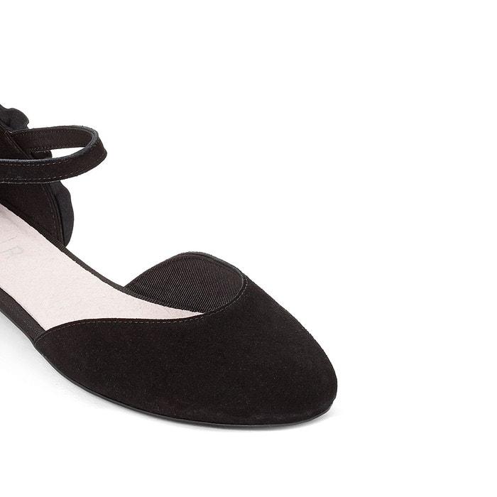 Ballerines cuir semi-ouvertes détail volants noir Mademoiselle R