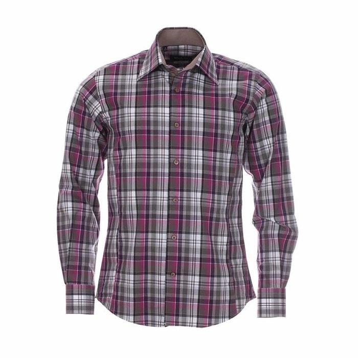 Chemise cintrée à carreaux et violets, opposition clair coton rose Meadrine