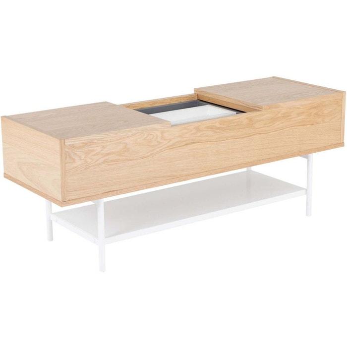 Table Basse Plaqu Ch Ne Naturel Et Blanc Laqu Blanc Zago La Redoute