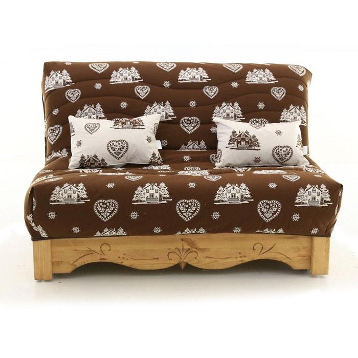 canap convertible bz pin massif sculpt 160 x 200 cm courchevel aspin chocolat et blanc. Black Bedroom Furniture Sets. Home Design Ideas