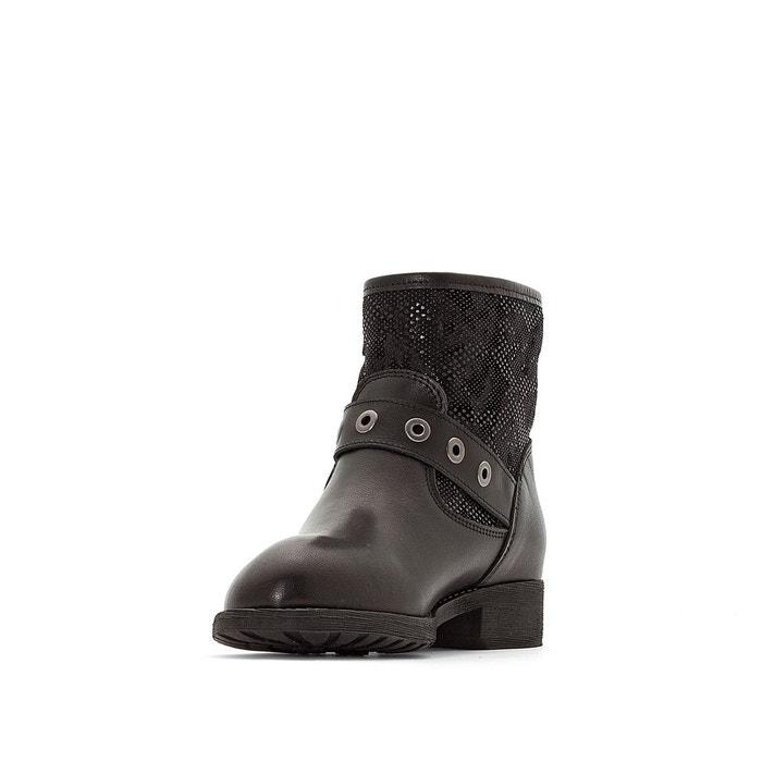 Le Temps des Cerises Boots Clea brides à boucle, bi-matière, talon 3 cm