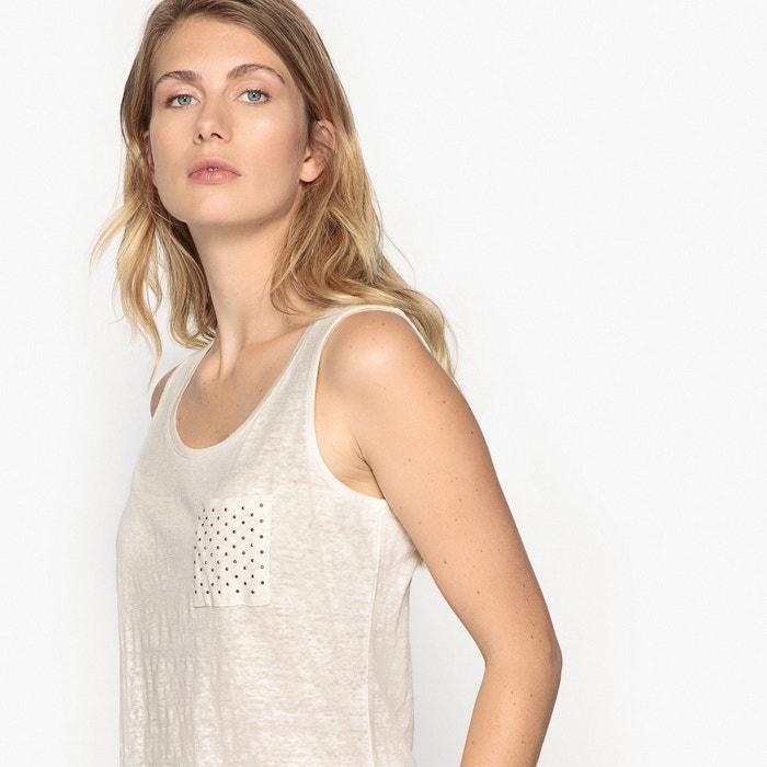 lino punto ANNE redondo con Camiseta WEYBURN de mangas sin cuello 100 TTaxgAvwq