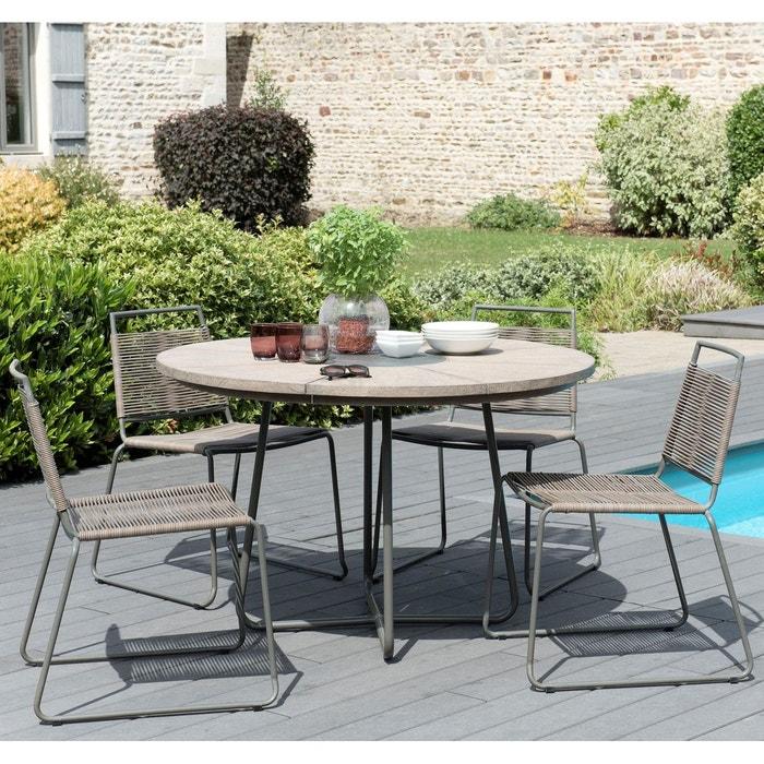 Salon de jardin table d\'extérieur ronde en bois teck grisé métal pierre D  120cm + 4 chaises fibre tressée DETROIT