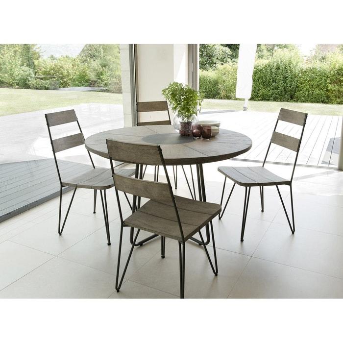 Salon de Jardin Teck Table D120 + 4 chaises DETROIT ref. 30020826