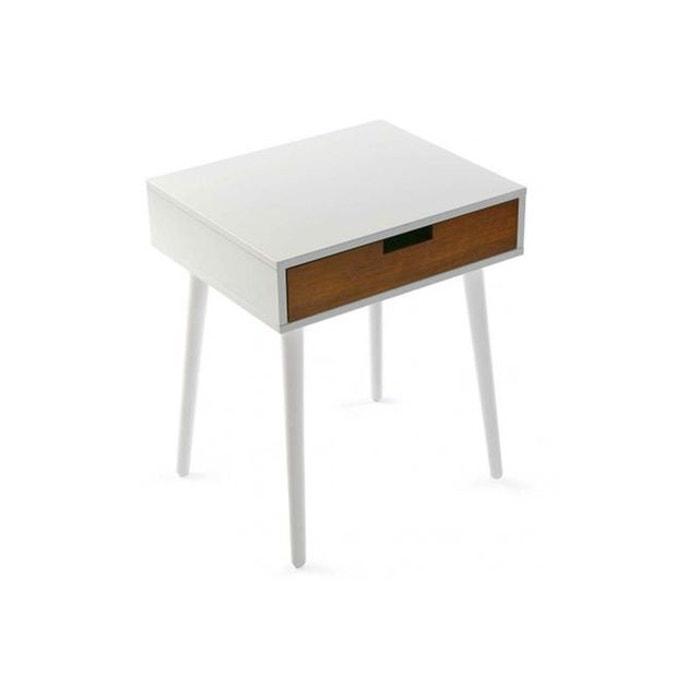 Table d\'appoint avec 1 tiroir en bois style scandinave blanche ...