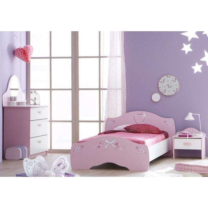 ensemble lit enfant 90x190 200 chevet commode rose orchid e blanc perle es105 blanc terre de. Black Bedroom Furniture Sets. Home Design Ideas