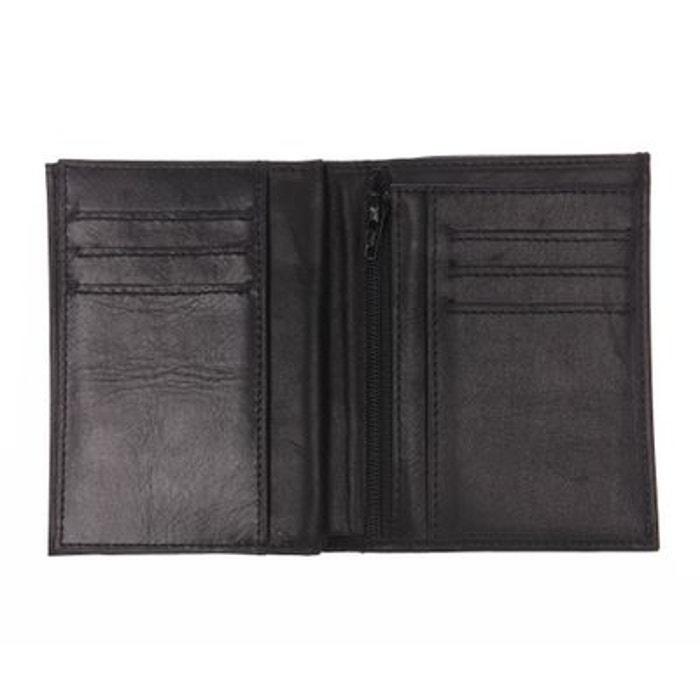 Petit portefeuille européen à volet central Arthur&Aston en cuir lisse noir pE6VU